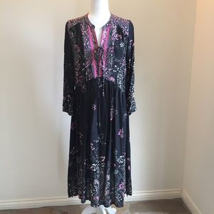 Free People black and pink boho midi small NWOT